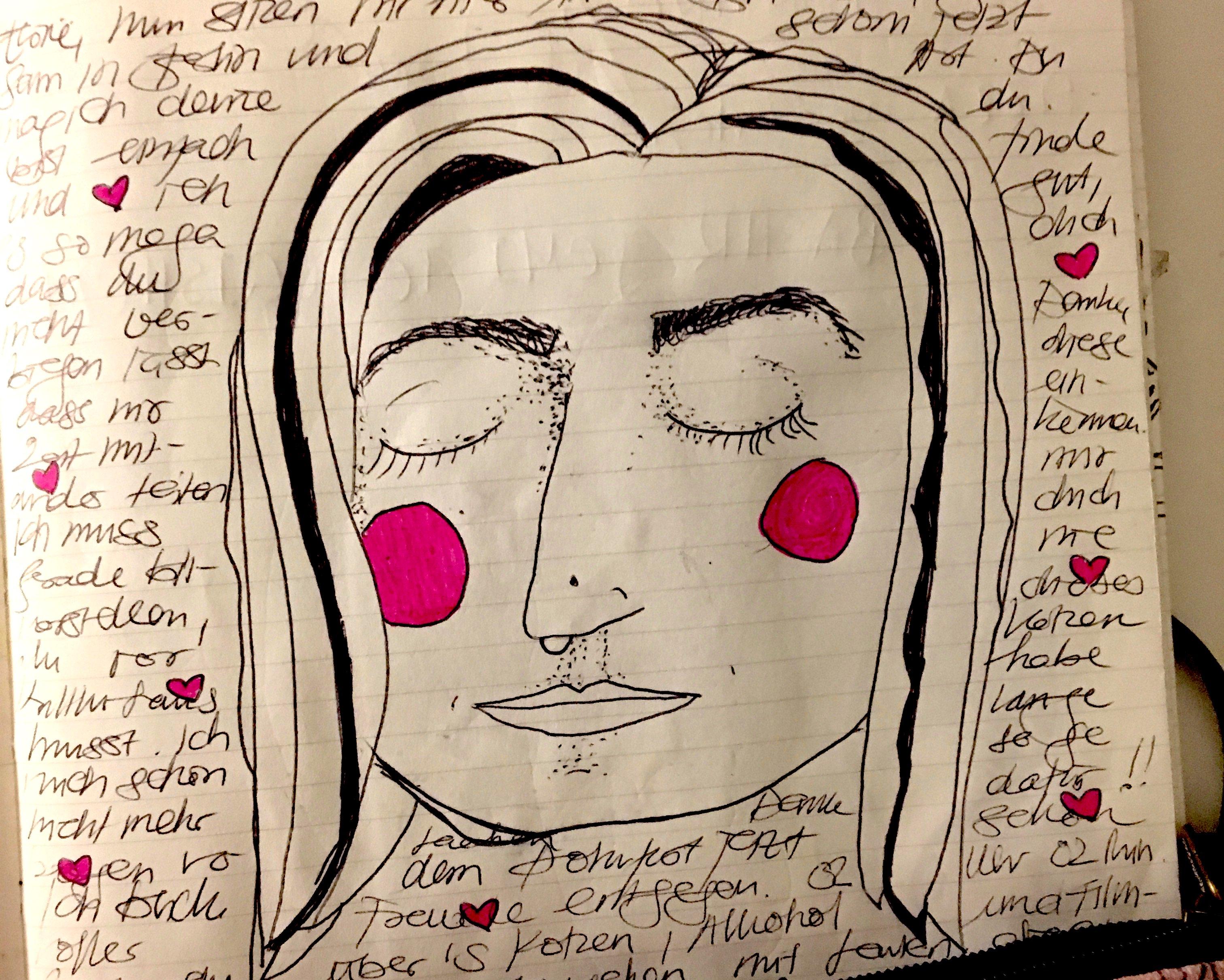 Zeichnung meines Gesichts mit seiner schönen großen Nase