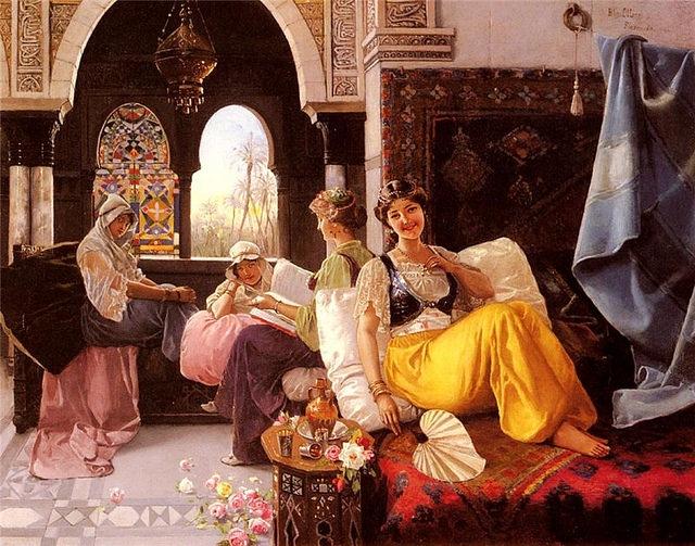 Gemälde eines Harems von Quintana Blas Olleras (1851-1919)