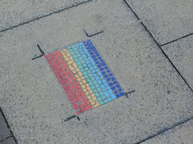 rainbow flag on the ground